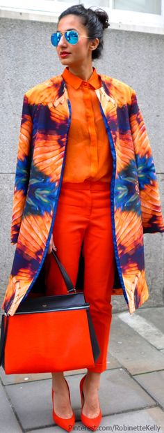 #orange and #blue #streetstyle #headtotoe
