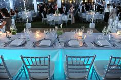 contemporary wedding, teal blue lighting