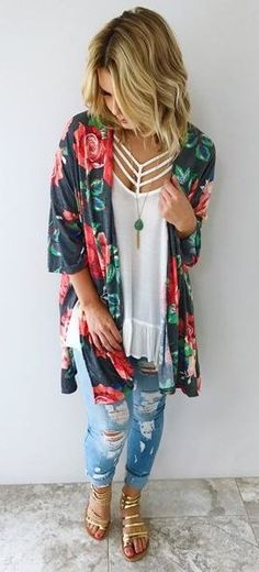 #summer #outfits Floral Tunic + White Top + Ripped Jeans