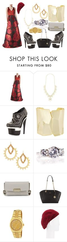 """""""Valentines Special"""" by hillarymaguire ❤ liked on Polyvore featuring Theia, Kendra Scott, Versace, Devon Leigh, Fantasia by DeSerio, ZAC Zac Posen, Furla, MICHAEL Michael Kors, Neiman Marcus and fabulous"""