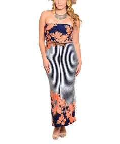 Another great find on #zulily! Navy & Orange Floral Maxi Dress - Plus by Buy in America #zulilyfinds