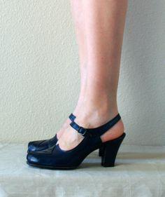 Vintage 1940s Navy Blue Leather Pumps -- Size 6.5 -- Ankle Wrap Peep toe. $72.00, via Etsy.