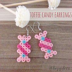Toffee candy earrings perler beads by bepplers
