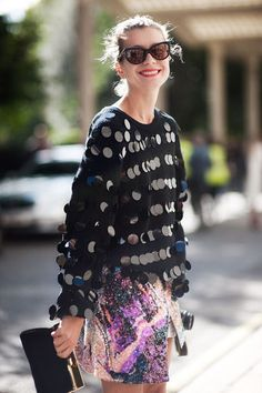 Sequins and a printed skirt