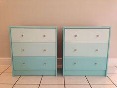 Ikea Rast Hack...used mini pots of Behr paints from card 490...& Martha Stewart acrylic knobs #ikea #rast