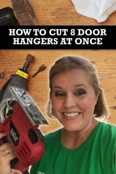 How to Cut Door Hangers in Bulk - SOUTHERN A-DOOR-NMENTS How to Cut Door Hangers in Bulk Painted Doors, Wooden Doors, Wooden Signs, Quick Grip Clamps, Door Hanger Template, Hanger Crafts, Pumpkin Door Hanger, Burlap Door Hangers, Door Tags