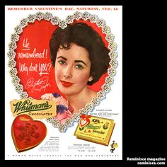 Vintage ad featured Elizabeth Taylor for Whitman's Chocolates in 1953