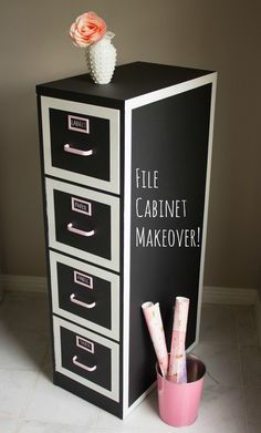 Give a filing cabinet that's seen better days a makeover using chalkboard paint.   35 Cheap And Ingenious Ways To Have The Best Classroom Ever