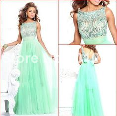 Stunning Beaded High Neck Open Back Empire Mint Green Chiffon Long Evening Dress Modest Prom Gowns With Sleeves 2013 New Arrival $105.00