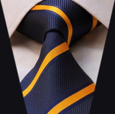 TS2002Y Blue Yellow Stripe New 100%Silk Jacquard Woven Classic  Man's Tie Necktie