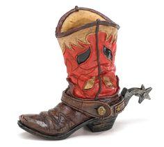 NEW Red Brown Cowboy Boot Vase with Spur Western Centerpiece burton+BURTON  #burtonBURTON