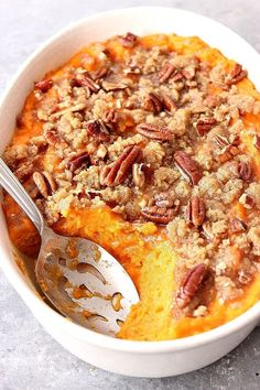 The Best Easy Sweet Potato Casserole Recipe - classic Thanksgiving holiday side dish made easy! www.crunchycreamysweet.com