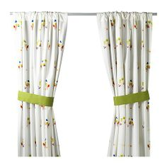 TORVA Curtains with tie-backs, 1 pair, multicolor multicolor 47x98