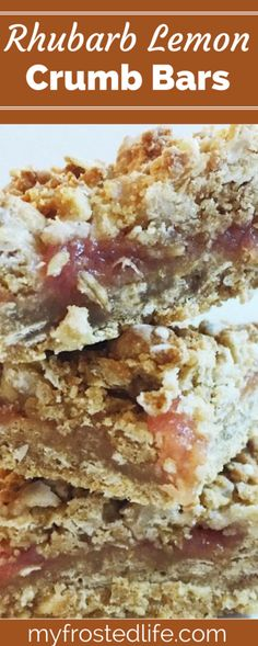Want a different way to bake with fresh rhubarb? These easy Rhubarb Lemon Crumb Bars feature a tart rhubarb jam sandwiched between two layers of buttery lemon oat crumb crust and are topped off with a quick lemony glaze. Always a spring treat, these simple and quick crumb bars are perfect as a snack or dessert! Best Dessert Recipes, Easy Desserts, Great Recipes, Delicious Desserts, Favorite Recipes, Yummy Food, Bar Recipes, Lemon Recipes, Amazing Recipes