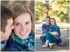 These fall engagement photos are adorable! Here we used the same pose for two very different photos. Iowa Wedding Photography | CTW Photography