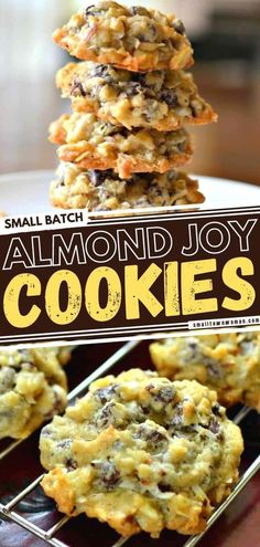 The entire family will love this Easter dessert! With the perfect blend of coconut flakes, chocolate chips, and sliced almonds, these Easter cookies will remind you of your favorite Almond Joy candy bars. Bake up and freeze this small batch recipe ahead of time! Easy Cookie Recipes, Cookie Desserts, Easy Desserts, Sweet Recipes, Delicious Desserts, Dessert Recipes, Coconut Chocolate Chip Cookies, Almond Joy Cookies, Semi Sweet Chocolate Chips