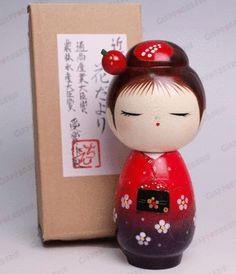 KOKESHI bambola artigianale legno laccato - MADE in JAPAN - GEISHA - KIMONO
