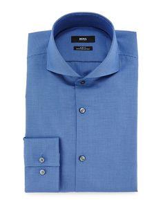"""Dwayne Slim-Fit Micro-Textured Dress Shirt, Blue, Women's, Size: 17.5"""" - Boss Hugo Boss"""