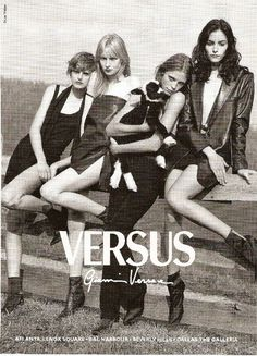 Versus Versace ad by Bruce Weber with Stella Tennant, Kirsten Owen, Tanga Moreau and Tasha Tilberg / scans by Northern Star via forums.thefashionspot.com
