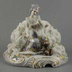 Antique Capodimonte San Marco Figurine Lady with Dog - LUX-FAIR.com - 1