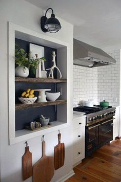 Remarkable Kitchen Wall Ideas For Recessed Wall Niche Décor Niche, Niche Decor, Rustic Shelves, Built In Shelves, Fridge Built In, Shallow Shelves, Cubby Shelves, Open Shelves, Floating Shelves