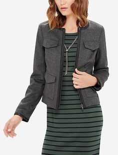 c1a44194d36 Faux Leather Trimmed Felt Jacket from THELIMITED.com Blazers For Women