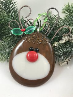 Your place to buy and sell all things handmade Stained Glass Birds, Stained Glass Panels, Fused Glass Art, Glass Christmas Decorations, Glass Christmas Ornaments, Christmas Bulbs, Reindeer Ornaments, Red Nosed Reindeer, Glass Fusing Projects