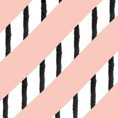 Modern pink coral black watercolor stripes pattern Art Print