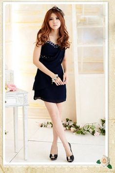 Strapless Chiffon-Drop Front A-line High-waistband Short Dress on BuyTrends.com, only price $9.83