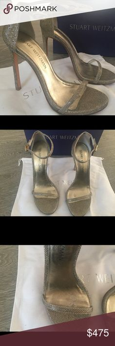 Stuart Weitzman Nudist Metallic Sandal Heels 115mm In Good condition! Only worn once! Comes with Box & Dustbag! Purchased from Stuart Weitzman in Topanga Mall Stuart Weitzman Shoes Heels