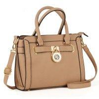 SY1605 Pink - Sally Young Saffiano Handbag with Padlock Detail