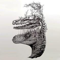 Surreal Dinosaur Head Tattoo Design