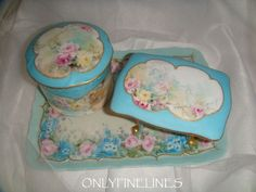 Limoges - Vanity Tray - Powder Jar - Footed Trinket Cache - Hand Painted ROSES - Enamel Jewels