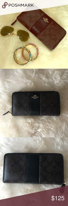 Excellent Condition Coach Wallet Immaculate! Purchased at the Coach store in May 2016. Black primary with brown pattern and gold metal accent. Beautiful and fits everything! Please use offer button! Coach Bags Wallets