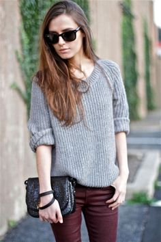 perfectly baggy sweater with shiny burgundy pants and a sparkly purse. so easy!