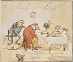 Randolph Caldecott (1846-86) se podría considerar el padre del picture book moderno como ilustrador, de hecho el principal premio de EEUU para álbum ilustrado está dedicado a él. Aportó a los textos un dinamismo, una credulidad y una dramatización que abrió camino para aquellos que conocieron su trabajo, como el caso de Maurice Sendak. Caldecott exploró la relación texto e imágenes a través de la composición de la página y el dinamismo de sus imágenes. Retoma un arte precedente e lo innova…