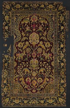 Prayer Rug  Object Name:     Carpet Date:     late 16th century Geography:     Egypt or Turkey Medium:     Silk, wool Dimensions:     H: 71 in. (180.34 cm) W: 44 in. (111.76 cm) Classification:     Textiles-Rugs