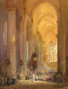 Cathedral At Carcassonne Colin Campbell Cooper Ca Oil On Canvas 26 X Kendall Art Advisory
