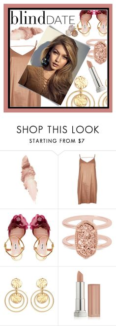 """""""Nude Blind Date"""" by blackdust ❤ liked on Polyvore featuring Maybelline, River Island, Miu Miu, Kendra Scott, Kenneth Jay Lane, Ippolita and blinddate"""