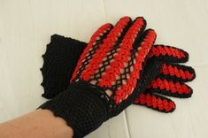 Black Crochet Gloves, Cotton Good look with all ladies daywear designs. Crochet Gloves, Craft Supplies, Handmade Items, Lady, Unique, Cotton, Design, Stationery
