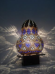 Shangai Blue King-Handmade Gourd Art Lantern Lamp-Ready to worldwide shipping as an Xmas Gift