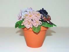Beaded African Violets with Beaded Peacock Butterfly in Clay Pot OOAK. Bonsai Trees, Violets, Beaded Flowers, Peacock, Planter Pots, African, Gemstones, Unique Jewelry, Handmade Gifts