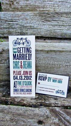 Wedding Invitation Rustic  Bicycle Invitation by WideEyesPaperCo, $2.00