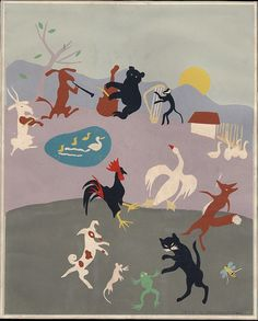 1952 Dancing Animals vintage original art silkscreen print -