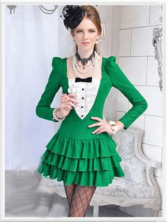 Morpheus Boutique  - Green White Color Block Ruffle Layer Long Sleeve Pleated Overcoat
