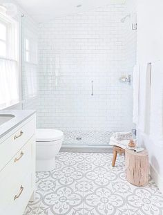 Modern Farmhouse Bathroom With Bold Pattern Cement Tile Floring-Style at Home Bathroom Floor Tiles, Bathroom Renos, Basement Bathroom, Master Bathroom, Home Depot Bathroom Tile, Metro Tiles Bathroom, Bathroom Mold, Tile Bathrooms, Small Bathroom Renovations