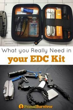 You don't have much room in your Every Day Carry Kit so every piece of your survival kit needs to count. Here we show you 7 examples of real life EDC Kits to help you determine what you really need to put into yours. Survival Supplies, Survival Tools, Survival Knife, Survival Prepping, Emergency Preparedness, Survival Hacks, Edc Tools, Survival Stuff, Tactical Survival