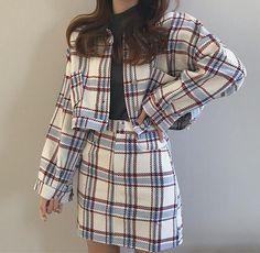 Plaid jacket and Skirt Matching Set