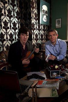 Benedict Cumberbatch and Martin Freeman. A violin and a gun