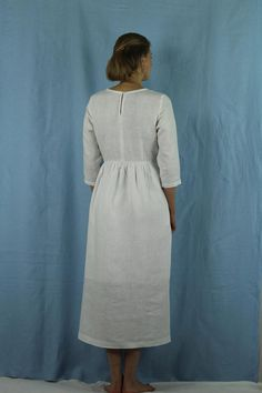 Linen dresses for women/ Linen dress/ Linen women dress   Etsy White Linen Dresses, White Dress, Sustainable Looks, Lovely Dresses, Custom Clothes, I Dress, Casual Wear, Square Meter, Summer Dresses